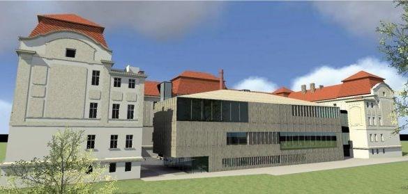 Popis: Vizualizace zadního pohledu na rekonstruovanou budovu Fakulty veřejných politik na Bezručově nám. 14 v Opavě.