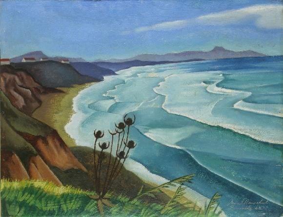 Popis: Ernest Neuschul, Mořské pobřeží – 1923, olej, překližka.