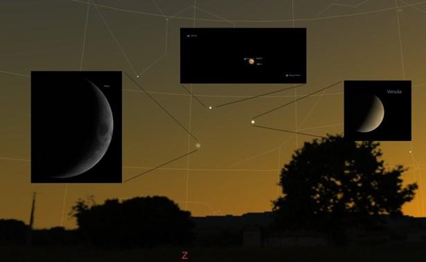 Popis: V sobotu spatříme seskupení dvou nejjasnějších planet s Měsícem.