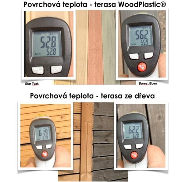 Popis: Ve vedrech nejvíc pálí černé dřevěné terasy, vyhrávají dřevoplasty, potvrdilo měření.