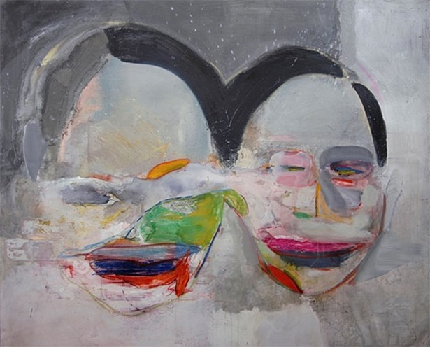 Popis: Facetime, 2015-6, akryl, olej, pastel, spray, plátno, 180 x 220 cm.