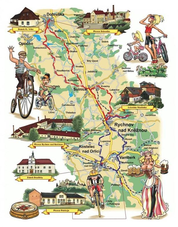 Mapa Podorlické pivní cyklostezky.