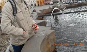 Led v kašně roztál, vyrojili se zloději mincí