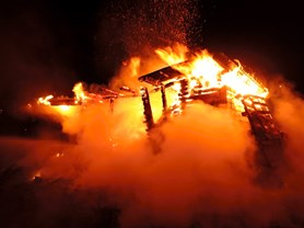 Požár chatky v Proseči nad Nisou