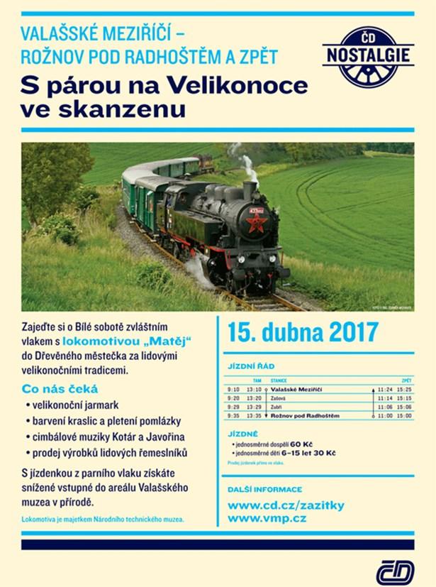Program jízdy parního vlaku .