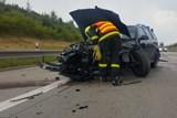 Dvě jednotky hasičů zasahovaly u nehody na dálnici D1 u Kujav