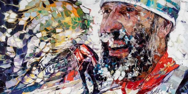 Popis: Běžec, 2016, 90 x 110 cm, olej na plátně.
