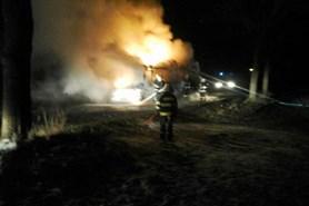 Požár autobusu na plyn