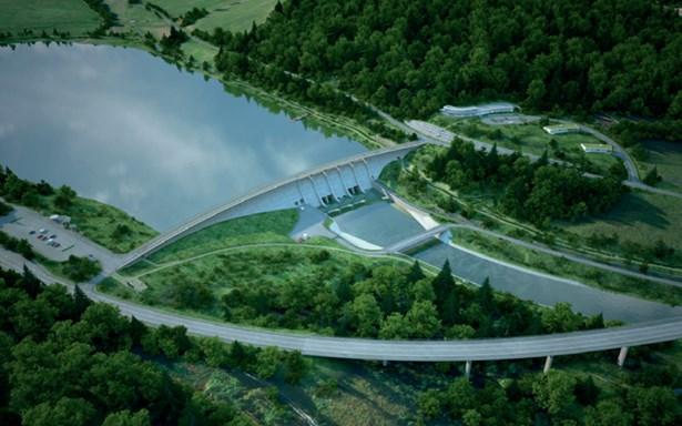 Popis: Vodní dílo Nové Heřminovy, letecký pohled na hráz a podhrází, provozní středisko, v popředí estakáda silnice I/45.