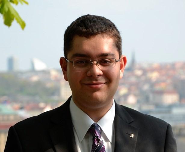 Popis: Tomáš Grundza, studentský starosta  Prahy 7.