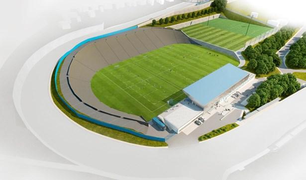 Popis: Vizualizace rekonstrukce fotbalového areálu Bazaly.