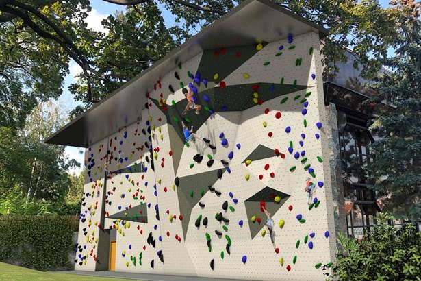 Popis: Vizualizace venkovní lezecké stěny u sportovní haly na ulici F. J. Curie.
