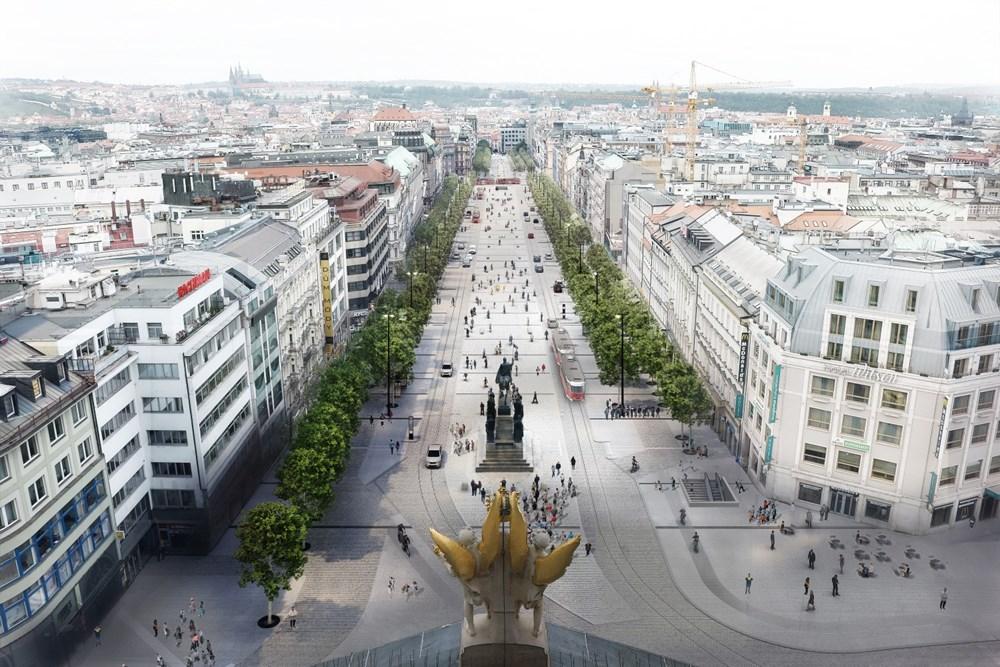 Popis: Vizualizace nové podoby Václavského náměstí.