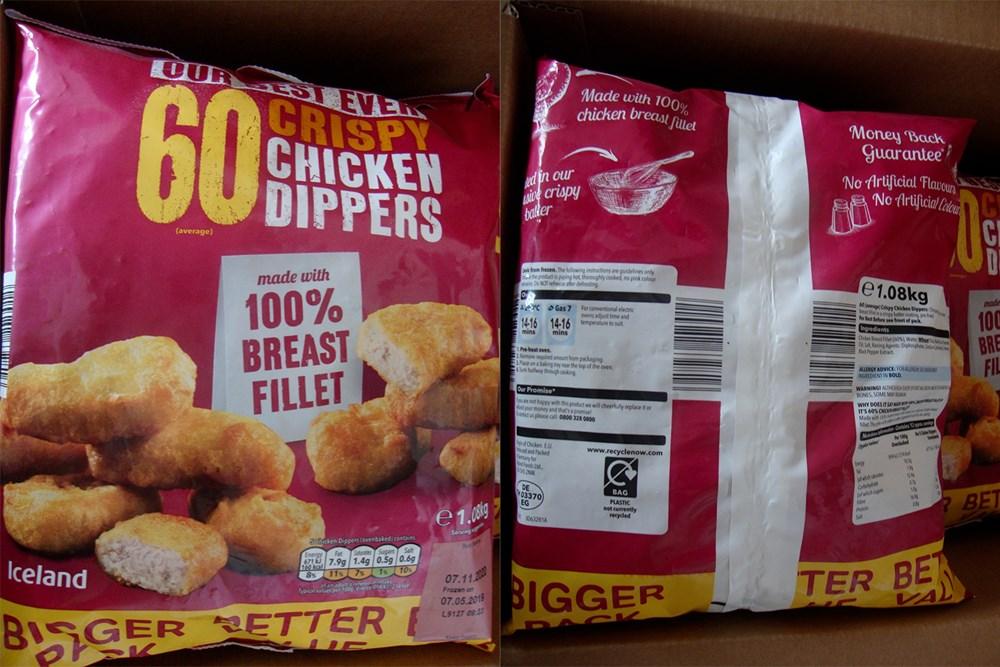 Popis: Mražené obalované kuřecí řízky vyrobené v Německu.